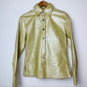 Wilson's Leather Gold Snap Button Pullover Top (S)